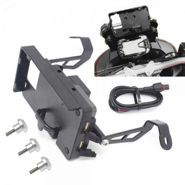 DUCATI MULTISTRADA 1200 SUPPORTO SMARTPHONE NAVIGATORE STAFFA MOTO CELLULARE CARICATORE USB ENDURO