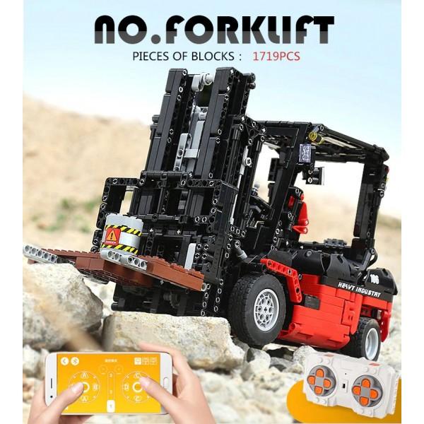 ✅⭐1719 pz MULETTO CARRELLO ELEVATORE FORCA RC APP TECHNIC BLOCK LEGO COMPATIBILE