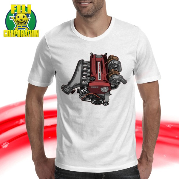 T-SHIRT NISSAN SKYLINE R34 MOTORE RB26 TURBO GODZILLA TUNING FILICORPORATION