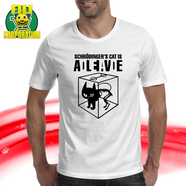 T-SHIRT SCHRODINGER'S GATTO VIVO O MORTI CAT DEAD ALIVE SHELDON